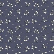 Lewis & Irene Enchanted Forest - 5092 - Snowdrops on Midnight Blue - A186.3 - Cotton Fabric